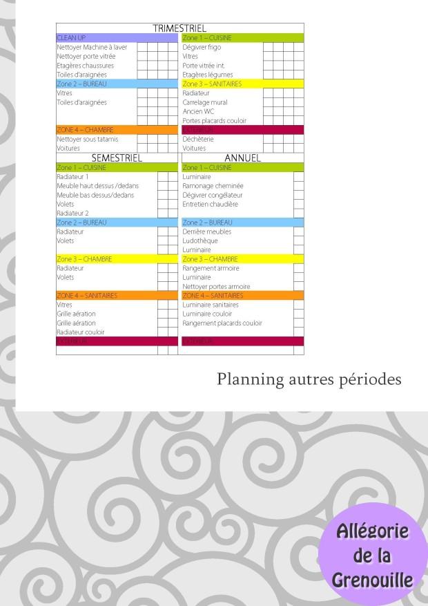 Planning ménage Zones périodes autres